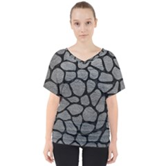 Skin1 Black Marble & Gray Leather V Neck Dolman Drape Top by trendistuff