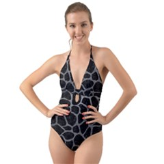 Skin1 Black Marble & Gray Leather (r) Halter Cut Out One Piece Swimsuit by trendistuff