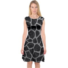 Skin1 Black Marble & Gray Leather (r) Capsleeve Midi Dress by trendistuff
