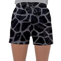 Skin1 Black Marble & Gray Leather (r) Sleepwear Shorts by trendistuff