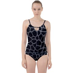 Skin1 Black Marble & Gray Leather (r) Cut Out Top Tankini Set by trendistuff