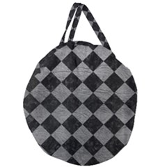 Square2 Black Marble & Gray Leather Giant Round Zipper Tote