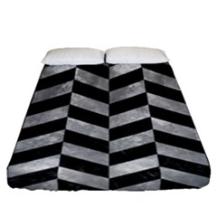 Chevron1 Black Marble & Gray Metal 2 Fitted Sheet (queen Size) by trendistuff