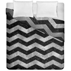 Chevron3 Black Marble & Gray Metal 2 Duvet Cover Double Side (california King Size) by trendistuff