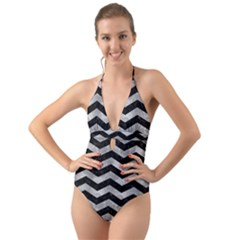 Chevron3 Black Marble & Gray Metal 2 Halter Cut Out One Piece Swimsuit