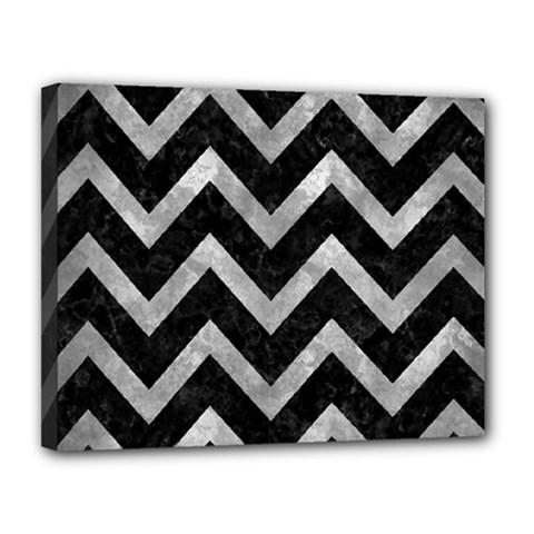 Chevron9 Black Marble & Gray Metal 2 Canvas 14  X 11  by trendistuff