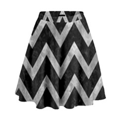 Chevron9 Black Marble & Gray Metal 2 High Waist Skirt by trendistuff
