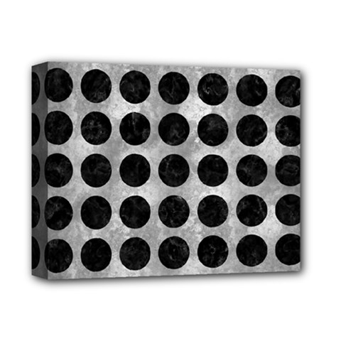 Circles1 Black Marble & Gray Metal 2 (r) Deluxe Canvas 14  X 11  by trendistuff