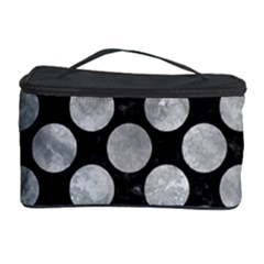 Circles2 Black Marble & Gray Metal 2 Cosmetic Storage Case by trendistuff