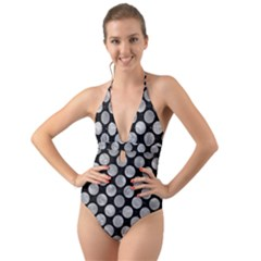 Circles2 Black Marble & Gray Metal 2 Halter Cut Out One Piece Swimsuit