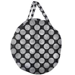 Circles2 Black Marble & Gray Metal 2 Giant Round Zipper Tote