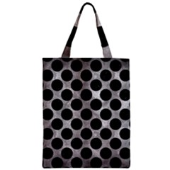 Circles2 Black Marble & Gray Metal 2 (r) Zipper Classic Tote Bag