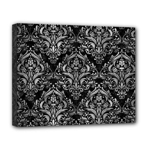 Damask1 Black Marble & Gray Metal 2 Deluxe Canvas 20  X 16   by trendistuff