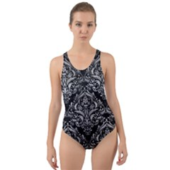 Damask1 Black Marble & Gray Metal 2 Cut Out Back One Piece Swimsuit