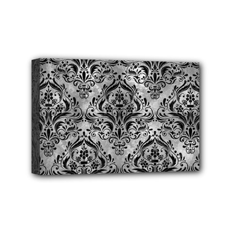 Damask1 Black Marble & Gray Metal 2 (r) Mini Canvas 6  X 4  by trendistuff