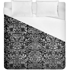 Damask2 Black Marble & Gray Metal 2 Duvet Cover (king Size) by trendistuff