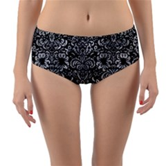 Damask2 Black Marble & Gray Metal 2 Reversible Mid Waist Bikini Bottoms by trendistuff