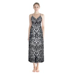Damask2 Black Marble & Gray Metal 2 (r) Button Up Chiffon Maxi Dress by trendistuff