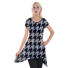 Houndstooth1 Black Marble & Gray Metal 2 Short Sleeve Side Drop Tunic