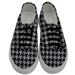 Houndstooth1 Black Marble & Gray Metal 2 Men s Classic Low Top Sneakers