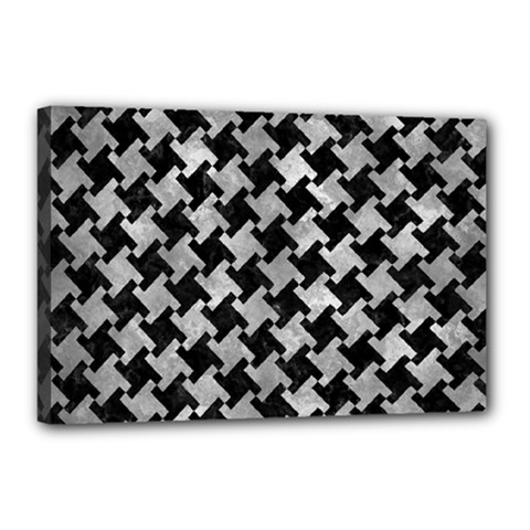Houndstooth2 Black Marble & Gray Metal 2 Canvas 18  X 12  by trendistuff