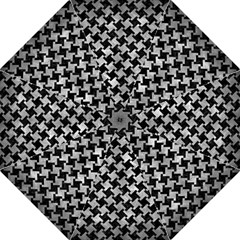 Houndstooth2 Black Marble & Gray Metal 2 Folding Umbrellas by trendistuff