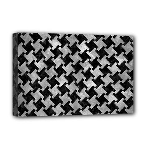 Houndstooth2 Black Marble & Gray Metal 2 Deluxe Canvas 18  X 12   by trendistuff