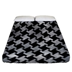 Houndstooth2 Black Marble & Gray Metal 2 Fitted Sheet (queen Size) by trendistuff