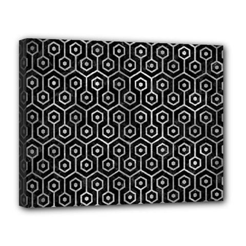 Hexagon1 Black Marble & Gray Metal 2 Canvas 14  X 11  by trendistuff
