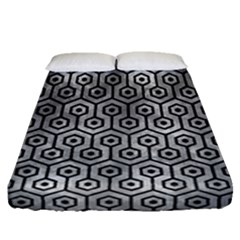 Hexagon1 Black Marble & Gray Metal 2 (r) Fitted Sheet (queen Size) by trendistuff