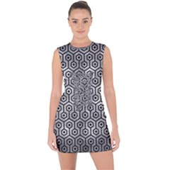 Hexagon1 Black Marble & Gray Metal 2 (r) Lace Up Front Bodycon Dress
