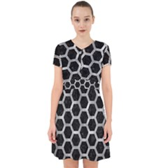 Hexagon2 Black Marble & Gray Metal 2 Adorable In Chiffon Dress