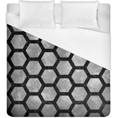 Hexagon2 Black Marble & Gray Metal 2 (r) Duvet Cover (king Size) by trendistuff