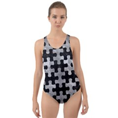 Puzzle1 Black Marble & Gray Metal 2 Cut Out Back One Piece Swimsuit