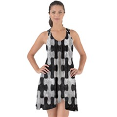 Puzzle1 Black Marble & Gray Metal 2 Show Some Back Chiffon Dress by trendistuff