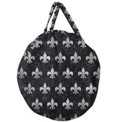 Royal1 Black Marble & Gray Metal 2 (r) Giant Round Zipper Tote