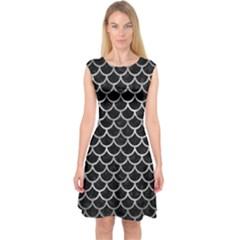 Scales1 Black Marble & Gray Metal 2 Capsleeve Midi Dress