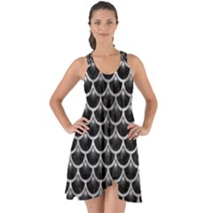 Scales3 Black Marble & Gray Metal 2 Show Some Back Chiffon Dress by trendistuff