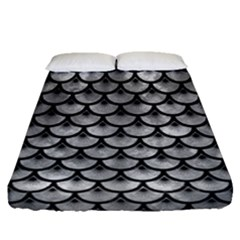Scales3 Black Marble & Gray Metal 2 (r) Fitted Sheet (queen Size) by trendistuff