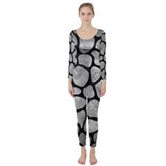 Skin1 Black Marble & Gray Metal 2 Long Sleeve Catsuit