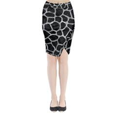 Skin1 Black Marble & Gray Metal 2 (r) Midi Wrap Pencil Skirt
