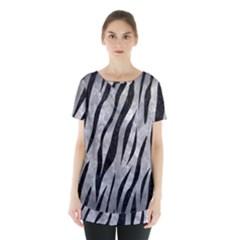 Skin3 Black Marble & Gray Metal 2 (r) Skirt Hem Sports Top by trendistuff
