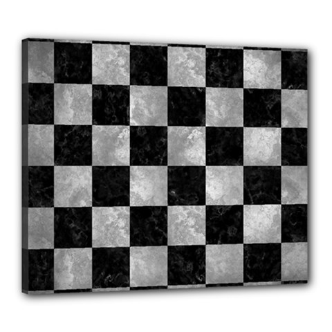 Square1 Black Marble & Gray Metal 2 Canvas 24  X 20  by trendistuff