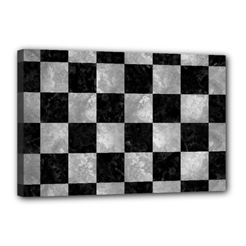 Square1 Black Marble & Gray Metal 2 Canvas 18  X 12  by trendistuff