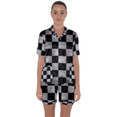 Square1 Black Marble & Gray Metal 2 Satin Short Sleeve Pyjamas Set by trendistuff