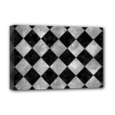 Square2 Black Marble & Gray Metal 2 Deluxe Canvas 18  X 12   by trendistuff
