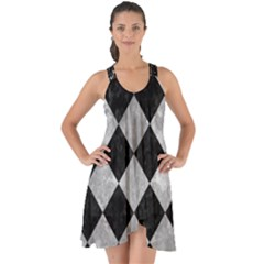 Square2 Black Marble & Gray Metal 2 Show Some Back Chiffon Dress by trendistuff