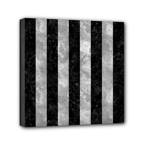 Stripes1 Black Marble & Gray Metal 2 Mini Canvas 6  X 6  by trendistuff