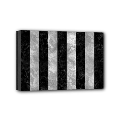 Stripes1 Black Marble & Gray Metal 2 Mini Canvas 6  X 4  by trendistuff
