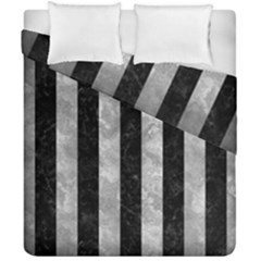 Stripes1 Black Marble & Gray Metal 2 Duvet Cover Double Side (california King Size) by trendistuff